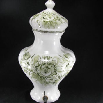 Italian Porcelain Wall Pocket Vase, Hanging Fountain Urn Spigot, Green Transferware Floral Design, Italian Wall Pocket, Vintage 2pc Set