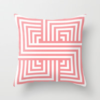 Coral Nautical Stripes Throw Pillow by House of Jennifer