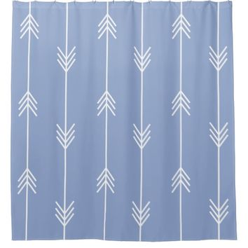 SERENITY Blue Arrow Pattern Shower Curtain