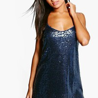 Boutique Issy Sequin Strappy Slip Dress | Boohoo