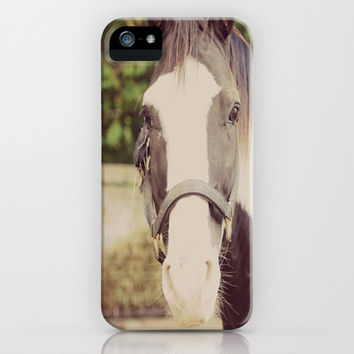 Horse Black and White Pinto iPhone & iPod Case by KimberosePhotography