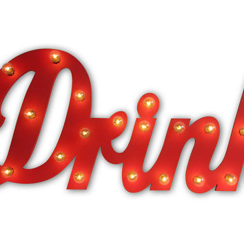 "Marquee Light-Up ""Drink"" Sign, Signs"