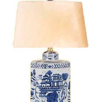 Vintage Style Blue and White Porcelain Blue Willow Tea Caddy Table Lamp w Shade