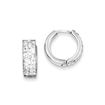 Sterling Silver White Crystal Small Hinged Hoop Earrings