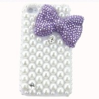 3d Purple Hand Made Bow Crystal Diamond Pearl Bling Hard Case Cover Shell for Apple Iphone 4 4s:Amazon:Cell Phones & Accessories