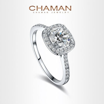 CHAMAN 18K White Gold Plated Elegant Platinum Round Square Diamond Wedding Ring Fashion Jewelry  For Women = 1958205572