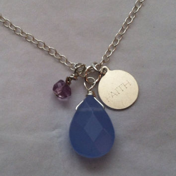 """Lovely Lavender Chalcedony and Amethyst """"Faith"""" Charm Pendant Necklace"""