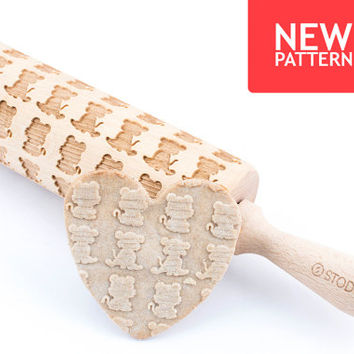 Little tiger - Embossed, engraved rolling pin for cookies