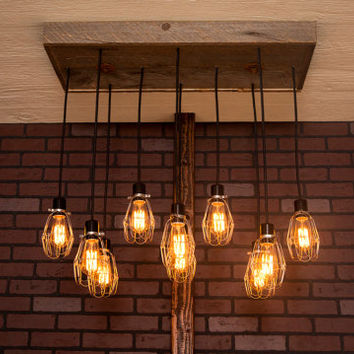 Industrial lighting, Industrial Chandelier, Nickel With Reclaimed Wood and 10 Pendants. R-1434-NC-10