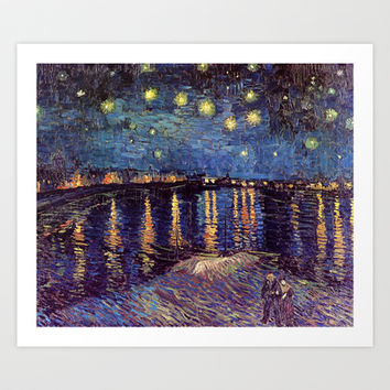 Starry Night over the Rhone, Vincent van Gogh.  Landscape oil painting fine art. Art Print by NatureMatters