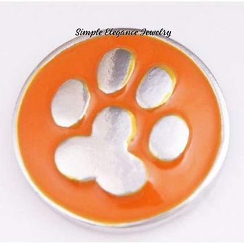 Orange Metal Paw Snap Charm 20mm for Snap Charm Jewelry
