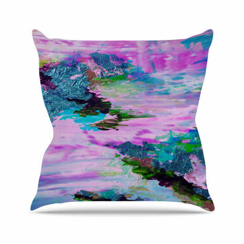 "Ebi Emporium ""On Cloud Nine - 4"" Pink Teal Outdoor Throw Pillow"
