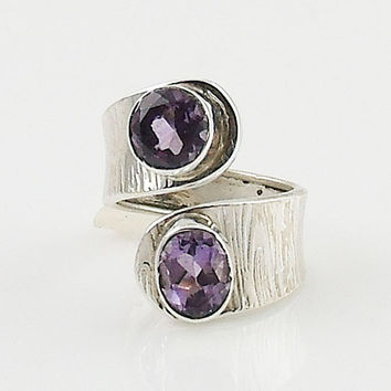 Amethyst Adjustable Sterling Silver Ring