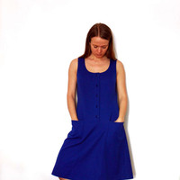 Simple Sleeveless Blue Vintage Dress With Pockets And Round Neck, A-line Everyday Retro Dress