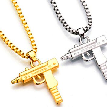 New necklace popular long paragraph personalized metal pistol ornaments