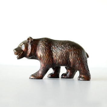 Vintage California Bear Figurine in Bronze Colored Bear Flag California Love