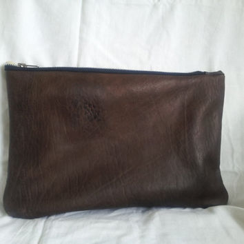 large leather clutch bag, large recycled leather pouch, leather clutch, brown recycled leather clutch, leather manbag, grunge leather