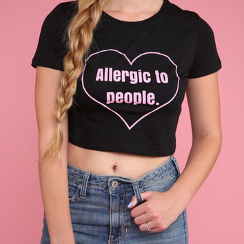 Allergic to People Black Graphic Crop Top