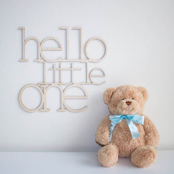 24 Inch tall Hello Little One wooden laser cut sign  modern typography for baby nursery wooden wall art wooden  sign typography wooden words