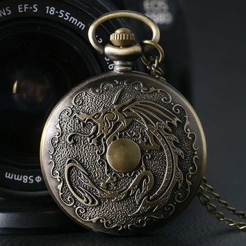 Steampunk Fiery Dragon Classic Zodiac Full Hunter Vintage Bronze Quartz Pocket Watch Necklace Pendant Chain Mens Boys Cool Gift