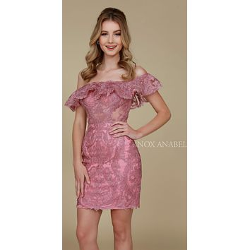 Short Strapless Lace Body Con Dress Mauve Sheer Panels