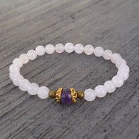 Healing, genuine rose quartz and amethyst guru bead bracelet