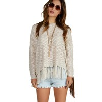 Sale-natural Pop And Fringe Dolman Sweater