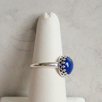 Blue Lapis Lazuli Ring Size 7 Sterling Silver Crown Bezel Setting Ring Blue Cabochon Gemstone Ring Natural Stone Birthday Gift Dainty