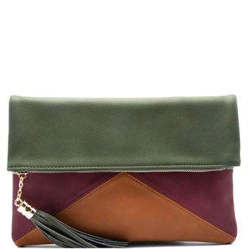 Olive Colorblock Tassel Fold Envelope Clutch Bag Purse