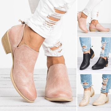 NEW Fashion Women Autumn Shoes Solid Leather Ankle Boots Cut-out Low Chunky Heel Round Toe Back Zipper Casual Boots Female Non-s
