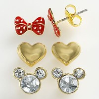 Disney Mickey Mouse Gold Tone Simulated Crystal Bow and Heart Stud Earring Set