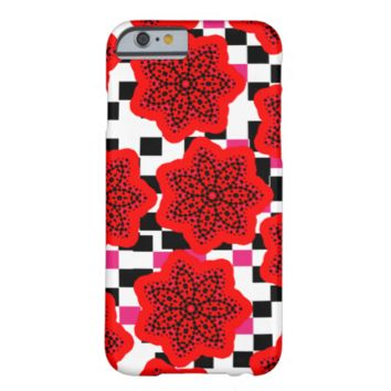 Pretty Floral Mix Pink Red Black and White Barely There iPhone 6 Case