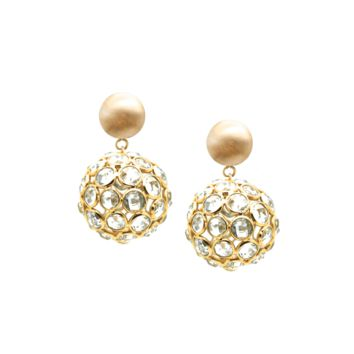 Tresor Collection - Blue Topaz Origami  Sphere Ball  Ball Earring In 18k Yellow Gold