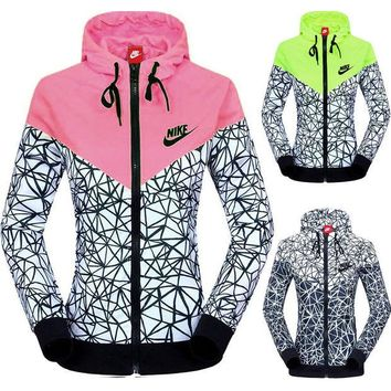DCCKN7G NIKE' Women Zip Hooded Sweatshirt Jacket Sport Cardigan Coat Windbreaker Sportswear