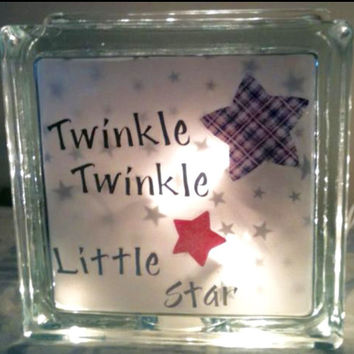 Nursery Lighted Glass Block and Home Glass Decor and Gifts