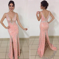 Hot Sexy Deep V Neck Mermaid Prom Dress 2017 Gorgeous Sequins Pink Lace Formal Evening Dresses Beading Backless Robe De Soiree
