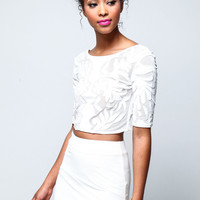 Ivory Embroidered Crop Top