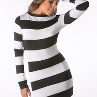 Black and white Stripe club Dresses