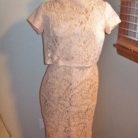 Amazing Vintage 50s Marji Low Lace Prom Cocktail Dress With Great Plunging Waterfall Back