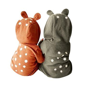 Newborn Infant Baby Boy Girl Deer Hooded Romper Jumpsuit Clothes Outfits Long Sleeve Baby Rompers Thick Warm Winter
