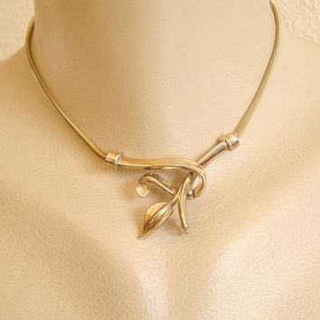 Trifari Art Nouveau Style Goldtone Necklace Crossed Leaf c1950 Vintage Jewelry