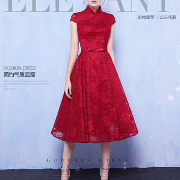 Cocktail Dresses 2017 Chinese Style Vintage Chamsung Collar Cap Sleeves A-line Tea-Length Red Lace Homecoming Dresses Custom