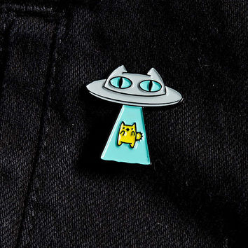 The Pink Samurai Cat Abduction Pin   Urban Outfitters
