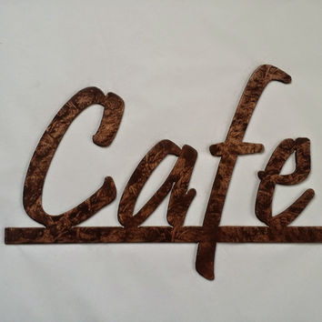Cafe Word on Bar Kitchen and Home Decor Metal Wall Art - Antique Copper