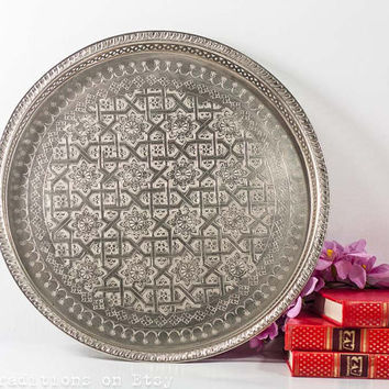 Vintage Moroccan Tray: Middle Eastern Decor, Large Mediterranean Tea Tray / Plate, Silver Plated  Islamic Tea Tray, Listed by CozyTraditions
