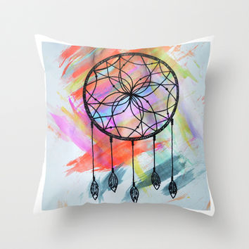 Catching Paint - Dream Catcher Throw Pillow by Arianna Renee