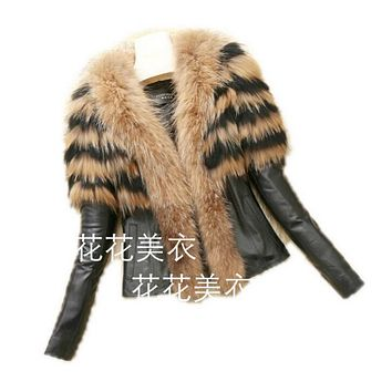Winter Faux Fox Fur Leather Jacket Women Fashion Biker Jacket Motorcycle Ladies Black Leather Coat Jacket 2016 Faux Fur Coat