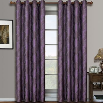 Purple Savanna Pair (Two Panels ) Jacquard Grommet Window Curtains