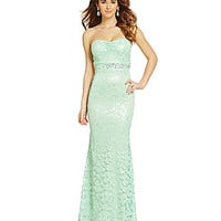 B. Darlin Sweetheart Lace Gown - Mint