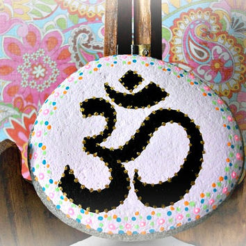 OM Hand Painted Rock,Custom Order, Paperweight, Hand Lettered, Decorative Rock, Indian Art, Namaste, Calming Yoga Rock Meditation Rock Hindu
